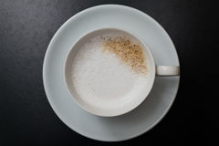Coffee in black. Cup coffee morning clean white forenoon, morning, dawn, daybreak, daylight black cappuccino Royalty Free Stock Image