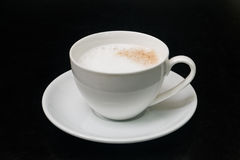 Coffee in black. Cup coffee morning clean white forenoon, morning, dawn, daybreak, daylight black cappuccino Royalty Free Stock Images