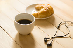 Coffee. Black coffee cup white put on wooden table Royalty Free Stock Images
