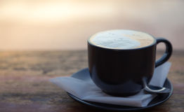 Coffee in black cup Royalty Free Stock Images