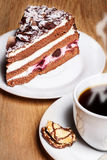 Coffee with Black Forest Cherry cake Stock Image
