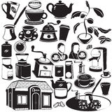 Coffee black icons Stock Photography