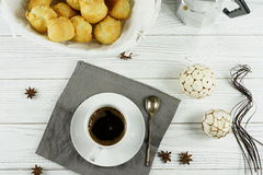 Coffee. Black coffee in a white cup on a white background Stock Photography