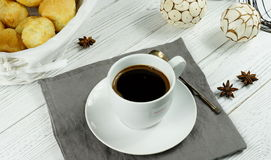 Coffee. Black coffee in a white cup on a white background Royalty Free Stock Image