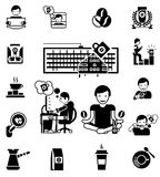 Coffee Black White Icons Set Royalty Free Stock Photography