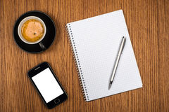 Coffee with blank notebook Stock Photo