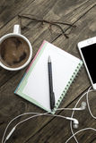 Coffee with blank notebook and phone Royalty Free Stock Photo