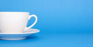 Coffee on blue background stock photos