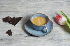 Coffee in a blue cup - grey background. Food & Dishes for Restaurants, Cuisine of the peoples of the world, Healthy Recipes Royalty Free Stock Images
