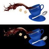 Coffee in blue cup. Illustration on white and black background Stock Photography