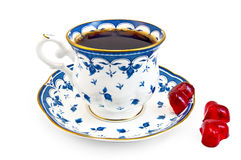 Coffee in the blue cup with jelly Stock Photography