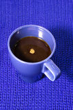 Coffee in blue cup Royalty Free Stock Images