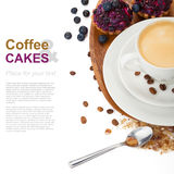 Coffee with blueberry cake Stock Image