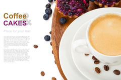 Coffee with blueberry cake Royalty Free Stock Photography