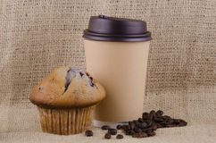 Coffee and blueberry muffin Stock Photos
