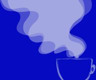 Coffee and the blues. Coffee with steam against blue background Stock Photography