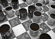 Coffee board game. 3D render of lack and white coffee cups as game pieces Royalty Free Stock Image