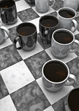 Coffee board game. 3D render of black and white coffee cups as game pieces Royalty Free Stock Photos