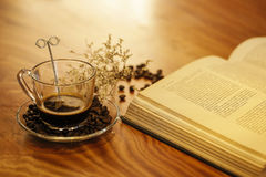 Coffee and book Stock Photos