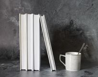 Coffee and books stock image