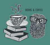 Coffee and books with cute clever owl in Stock Image