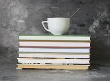 Coffee and books on marble background royalty free stock photos