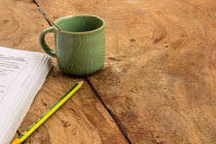 Coffee, Books , Pencil, wood, paper, spoon. Royalty Free Stock Photography
