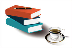 Coffee, books, pens. Vector graphics, desktop, on the plate with a cup of Coffee, sugar, spoon. And books and pens, work, office, leisure theme Stock Photo