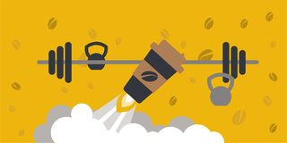 Coffee boost energy illustration. With sports equipment background Stock Photo