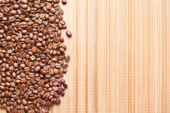 Coffee border. On wooden texture background Royalty Free Stock Image