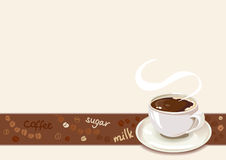 Coffee border with cup of coffee Royalty Free Stock Images