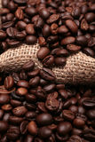 Coffee both sides of a sack Stock Photography