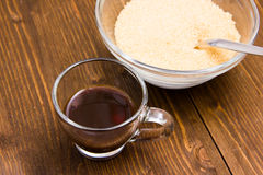Coffee and bowl with brown sugar from Stock Photography