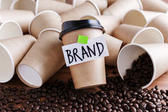 Coffee branding concept. Brand building for coffee shop and cafe concept royalty free stock photo