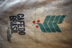 Coffee from Brazil. Bag where the grains of Brazilian coffee are stored Royalty Free Stock Photo