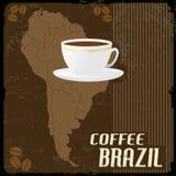 Coffee Brazil Vintage Poster Royalty Free Stock Photo
