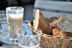 Coffee and bread basket Royalty Free Stock Photography