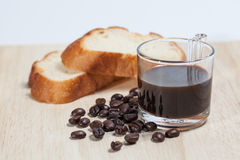 Coffee and bread Royalty Free Stock Images