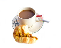 Coffee and bread breakfast isolated Stock Image