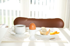 Coffee, bread and eggs for breakfast Stock Images