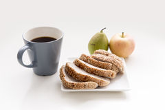 Coffee bread and fruit Royalty Free Stock Image