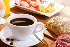 Coffee with bread and meat Royalty Free Stock Photography