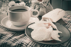 Coffee, bread and Ribbed potatoes snack Royalty Free Stock Photography