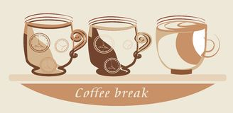 Coffee break. Vector drawing of the funny mugs Royalty Free Stock Images