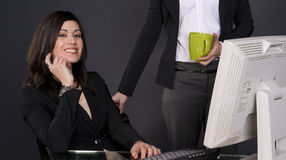 Two Women Coffee Break at the Business Office  Royalty Free Stock Photography