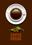 Coffee break. A cup of coffee on a dark background with coffee beans Stock Photography