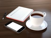 Coffee break. 3D illustration of office desk with coffee, mobile phone, notebook and pen Royalty Free Stock Images