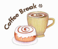 Coffee Break. An illustration of a cup of coffee and a cinnamon roll. Made with markers and colored pencils Stock Photo