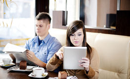 Coffee break. Couple having a Royalty Free Stock Photography