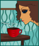 Coffee Break. Woman enjoys the aroma of coffee, tea or hot cocoa Vector Illustration